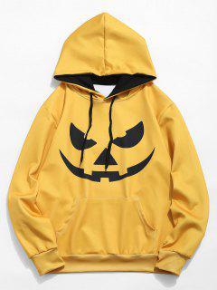 Halloween Emotion Icon Print Hoodie - Bee Yellow L