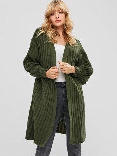 Ribbed Longline Cardigan With Open Front - Army Green