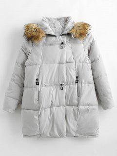 Zipped Quilted Puffer Winter Coat - Gray Goose Xs