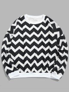 Wave Geometric Pullover Sweatshirt - Black L