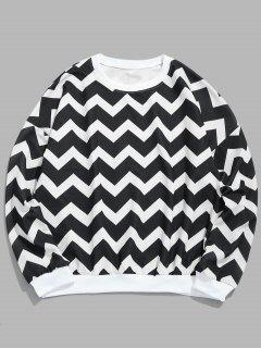Wave Geometric Pullover Sweatshirt - Black Xl