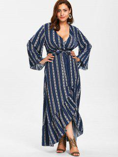 ZAFUL Plus Size Wrap Flounce Long Dress - Midnight Blue L