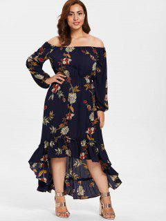 ZAFUL Plus Size High Low Floral Long Dress - Midnight Blue 2x