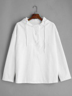 Snap Button Plain Hoodie - White M