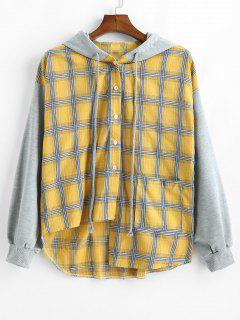 Button Up Plaid Asymmetic Hoodie - Mustard