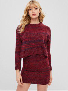 Drop Shoulder Heather Bodycon Skirt Set - Red Wine