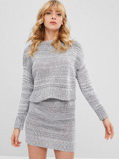 Fallen Schulter Heather Bodycon Rock Set - Grau