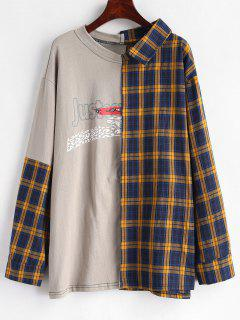 Spliced Checked Oversized Deconstructed Top - Multi S