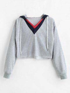 Striped V Neck Cropped Hoodie - Gray L