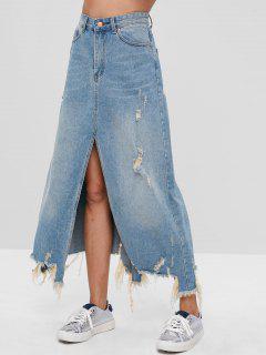 Ripped Slit Denim Skirt - Denim Blue L