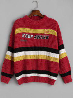 Striped Oversized Drop Shoulder Sweater - Red