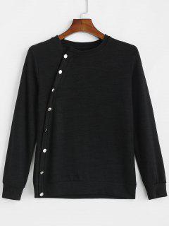 Diagonal Buttoned Light Sweater - Black L
