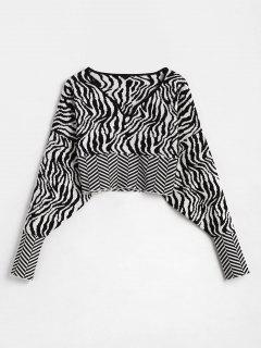 Zebra Graphic Drop Shoulder Crop Sweater - Black L