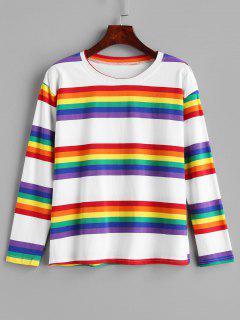 Camiseta Manga Larga Rainbow Stripe - Multicolor S