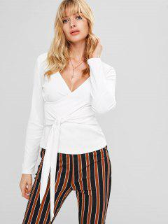 Plunging Surplice Long Sleeve Tee - White L