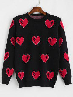 Hearts Graphic Tunic Knit Sweater - Black