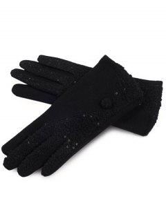 Winter Color Block Full Finger Gloves - Black