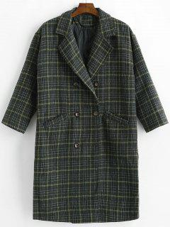 Double Breasted Plaid Wool Blend Coat - Multi L