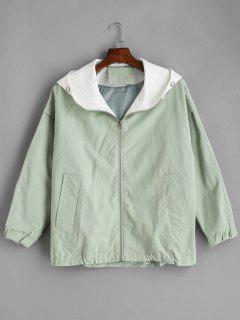 Contrast Raglan Sleeve Zip Up Jacket - Mint Green Xl