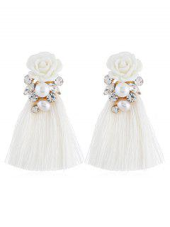 Vintage Floral Rhinestone Tassel Drop Earrings - White