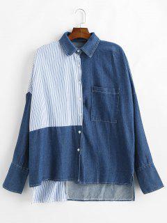 Chemise Contrastée à Rayures Basses - Bleu Foncé Toile De Jean
