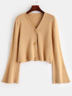 Button Up Flare Sleeves Cardigan - Camel Brown