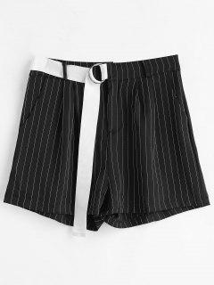 Pinstripe High Waisted Shorts - Black S