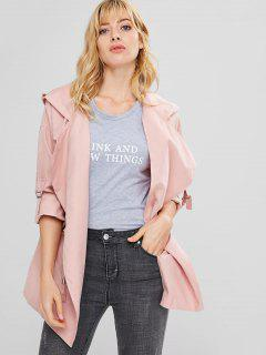 Hooded Drawstring Tunic Coat - Pink L