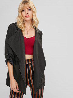 Hooded Drawstring Tunic Coat - Black L
