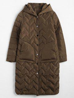 Quilted Hooded Winter Puffer Coat - Coffee M