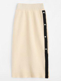 Side Slit Knit Sweater Midi Skirt - Blanched Almond