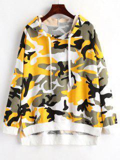 Step Hem Camo Print Pullover Hoodie - Acu Camouflage
