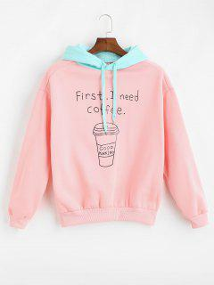 Letter Graphic Contrast Loose Hoodie - Pink M