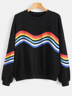 Rainbow Stripe Oversized Sweatshirt - Black S