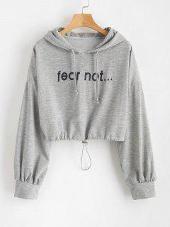 Loose Cropped Graphic Hoodie - Gray Cloud L