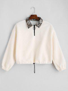 Leopard Collar Faux Shearling Sweatshirt - White