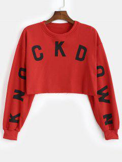 Graphic Cropped Boxy Sweatshirt - Red