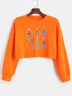 Bottle Graphic Cropped Boxy Sweatshirt - Papaya Orange L