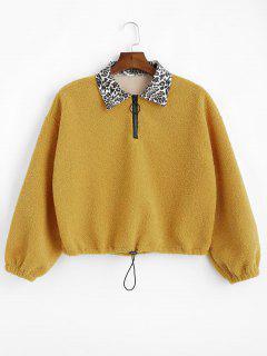 Leopard Collar Faux Shearling Sweatshirt - Mustard