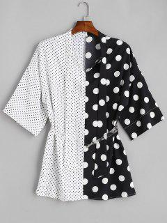 Belted Polka Dot Spliced Long Shirt - Multi