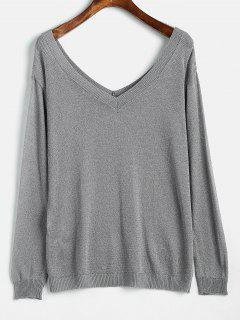 Low Cut Rückenfreies Strick T-Shirt - Grau M