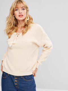 Lace-up Tassel Drop Shoulder Sweater - Apricot