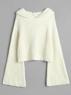 Hooded Bell Sleeve Loose Sweater - Warm White