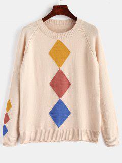 Argyle Raglan Sleeve Sweater - Apricot