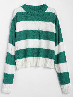 Ripped Striped Two Tone Sweater - Sea Turtle Green S