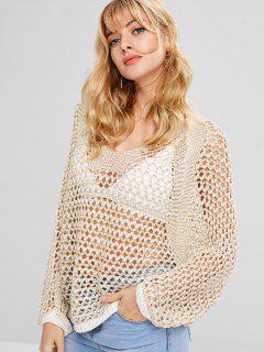 Pull Oversize En Crochet Chauve-souris - Abricot