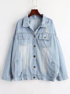 Graphic Back Oversized Denim Jacket - Denim Blue L