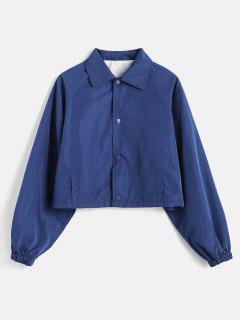 Drawstring Raglan Sleeve Jacket - Deep Blue M