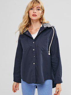 Contrast Hood Oversized Jacket - Deep Blue S