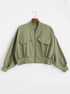 Batwing Sleeve Oversized Twill Bomber Jacket - Army Green
